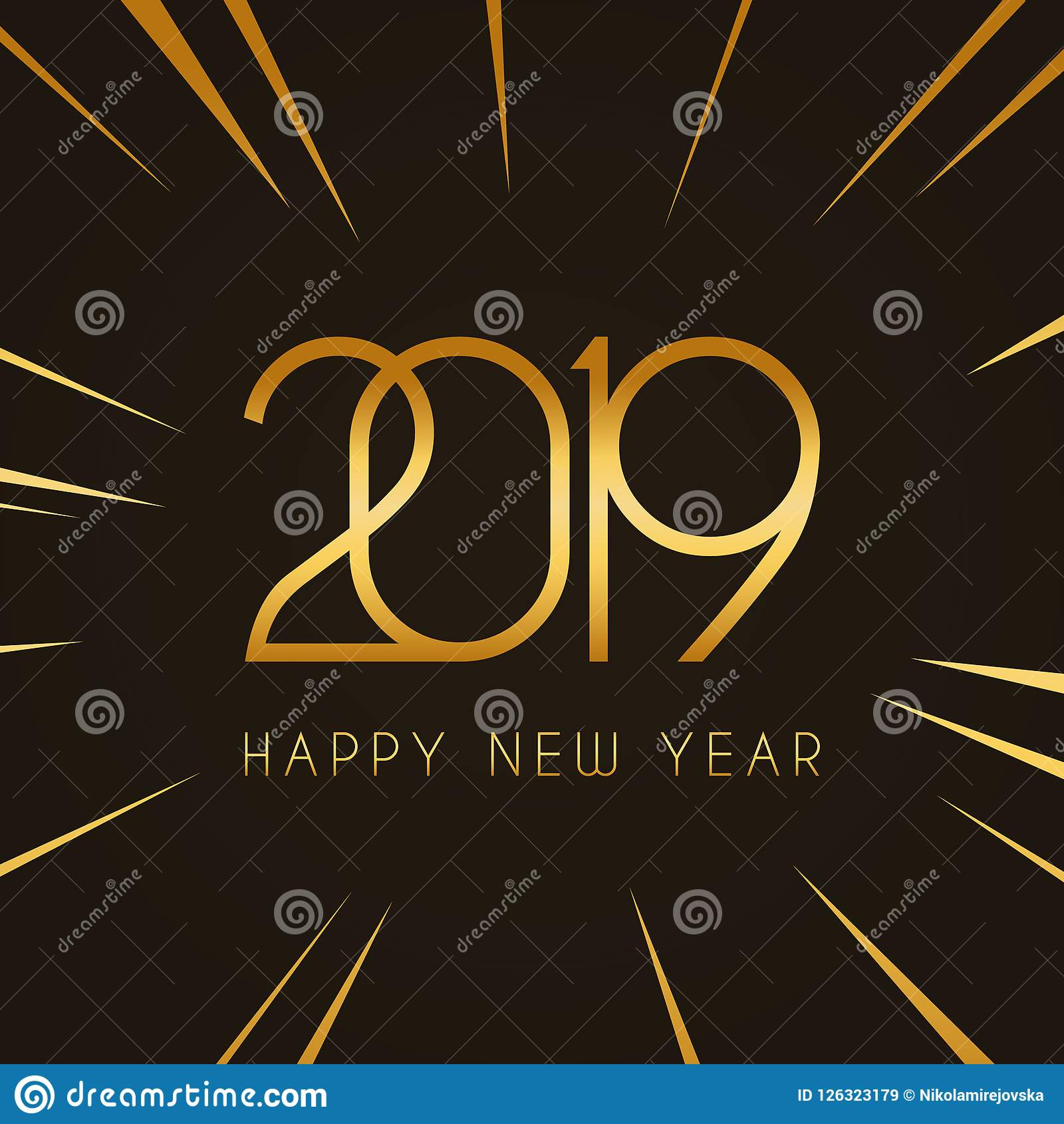 2019 Happy New Year Design Template For Holiday Greeting Card And