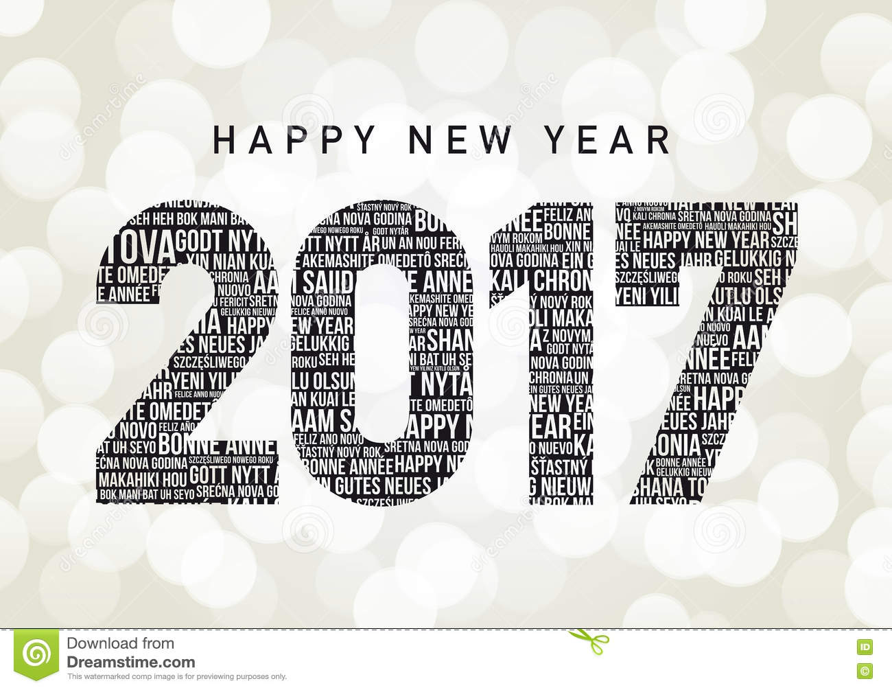 Happy New Year Stock Vector Image Of Bokeh Languages - All languages in the world