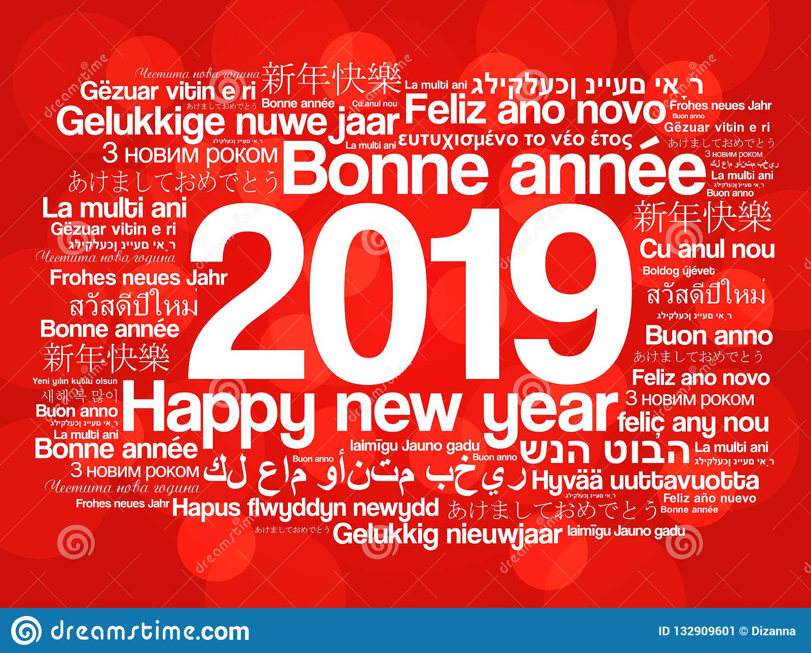 2019 happy new year in different languages stock