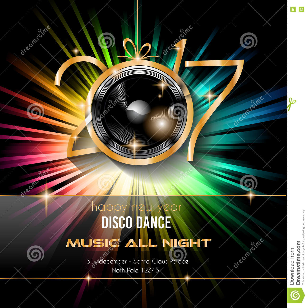 2017 happy new year disco party background for your flyers