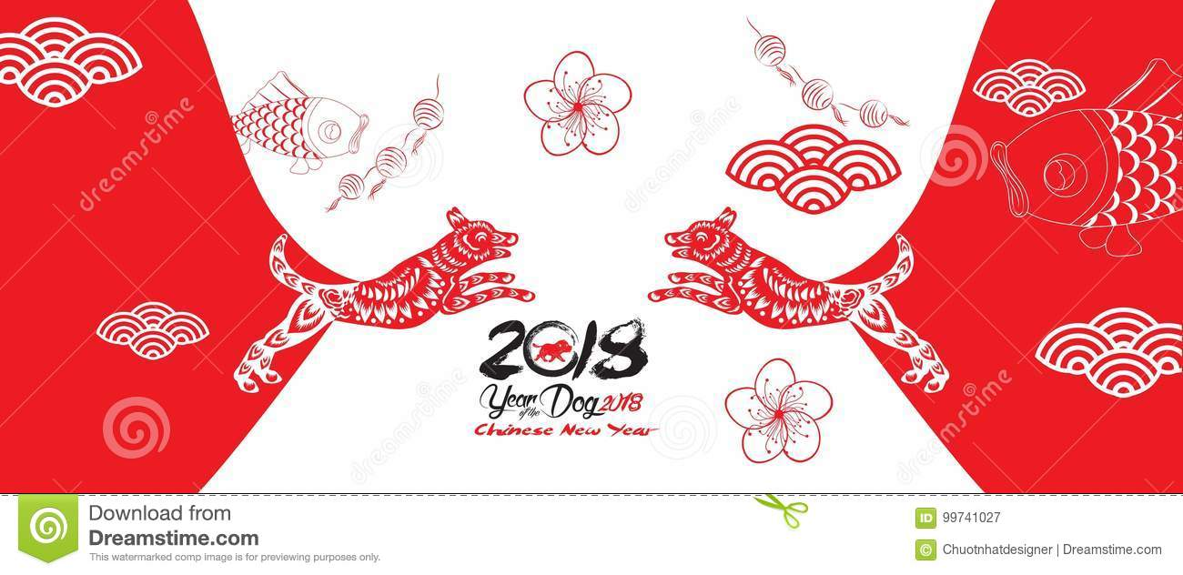 Happy New Year, Dog 2018,Chinese New Year Greetings, Year Of Dog ...