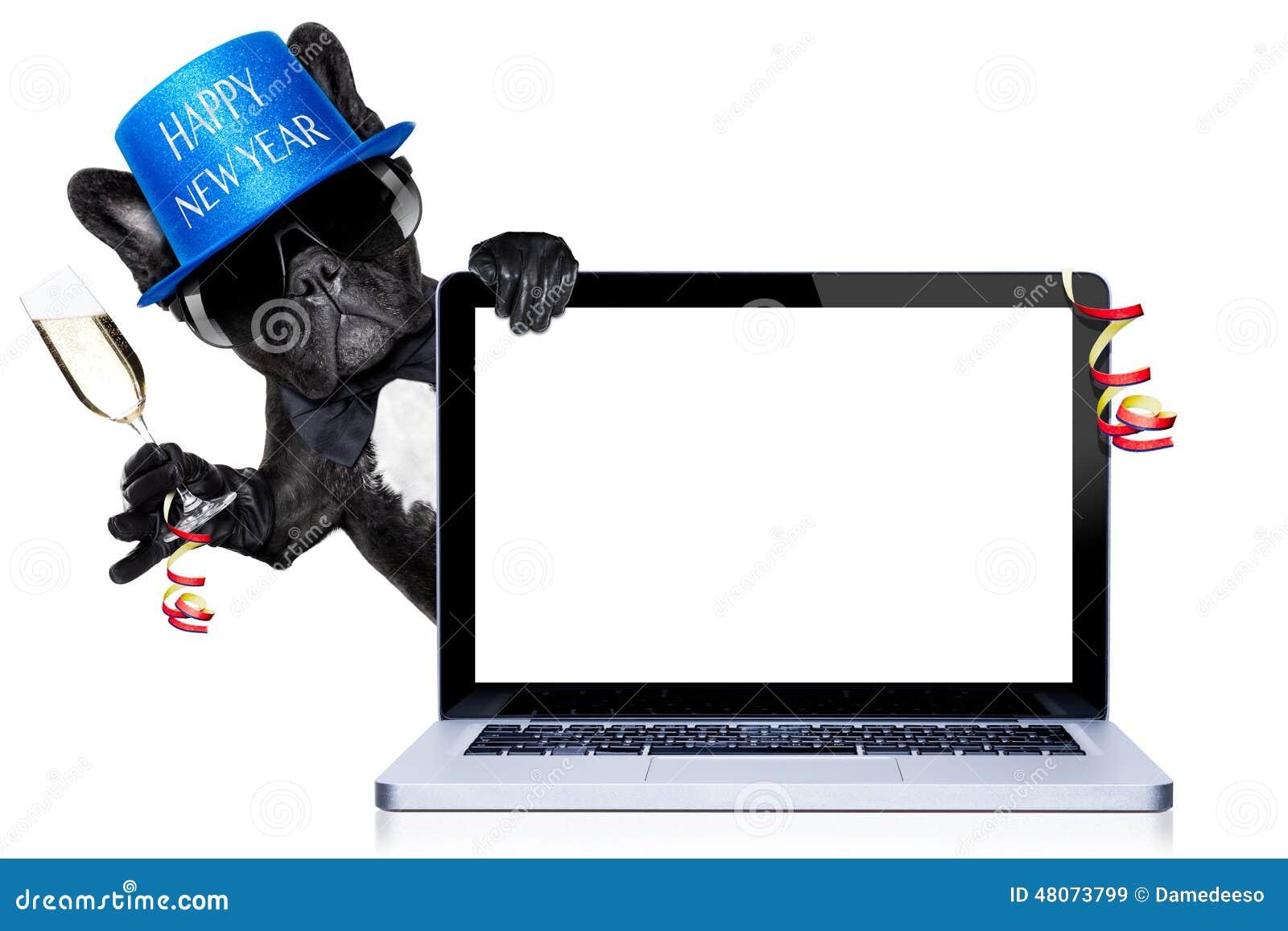 Happy new year dog stock image. Image of internet, laptop - 48073799
