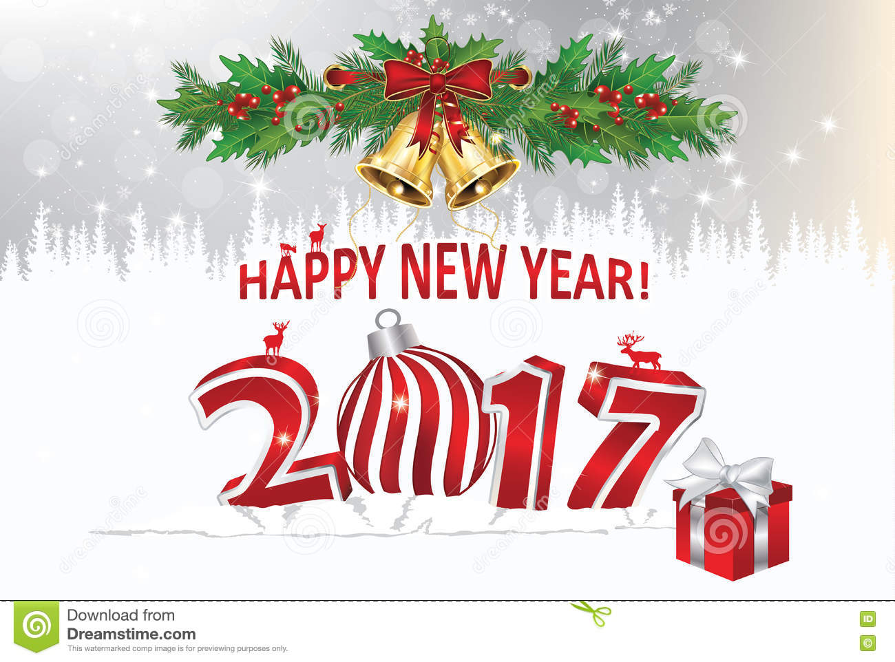 Happy new year elegant greeting card stock photo
