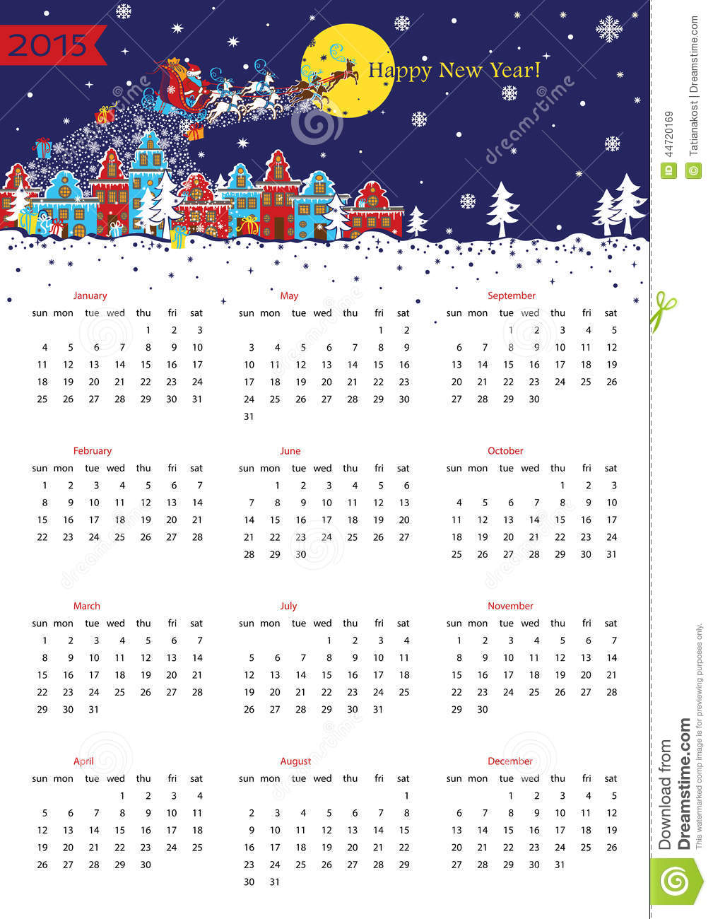 Happy new year 2015 european calendar stock vector image 44720169 - Happy new year sound europe ...
