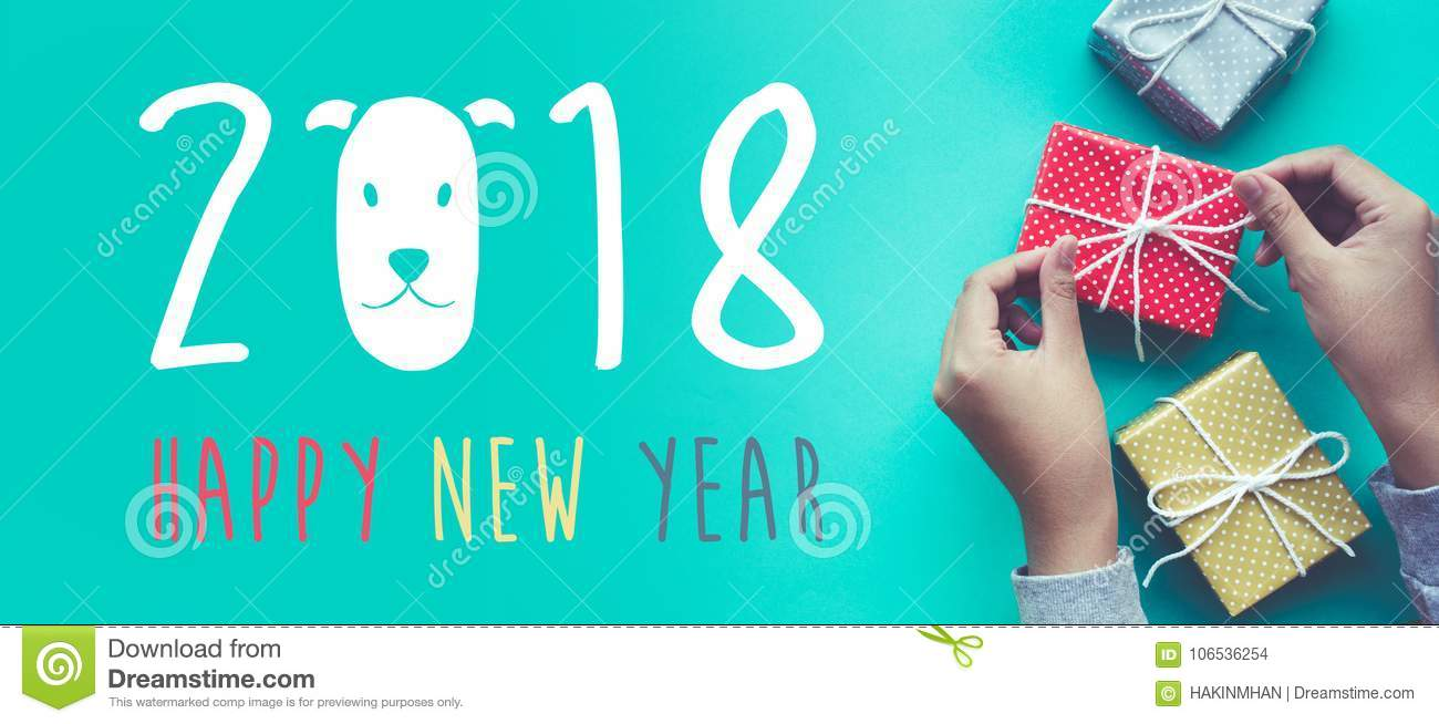 2018 Happy New Year With Female Decorating Cute Gift Box ...