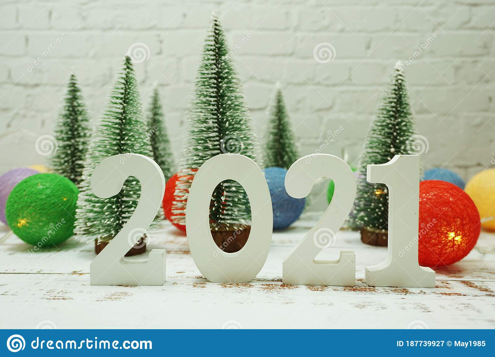 2021 Christmas White Background Happy New Year 2021 Festive Background With Christmas Tree On White Brick Wall Background Stock Image Image Of Winter Design 187739927