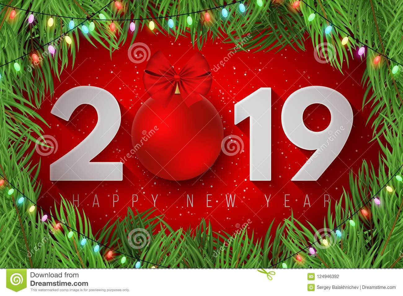 happy new year 2019 festive cover for your design snowflakes on ahappy new year 2019 festive cover for your design snowflakes on a light red background christmas tree paper numbers with a new year`s toy