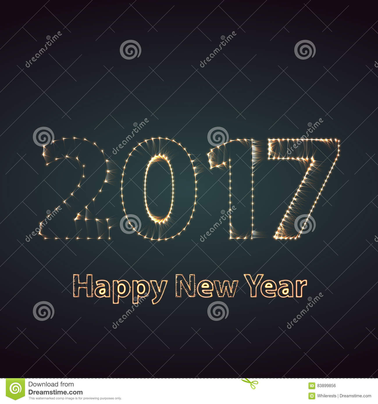 download happy new year 2017 firework background greeting card with particle illustration stock illustration