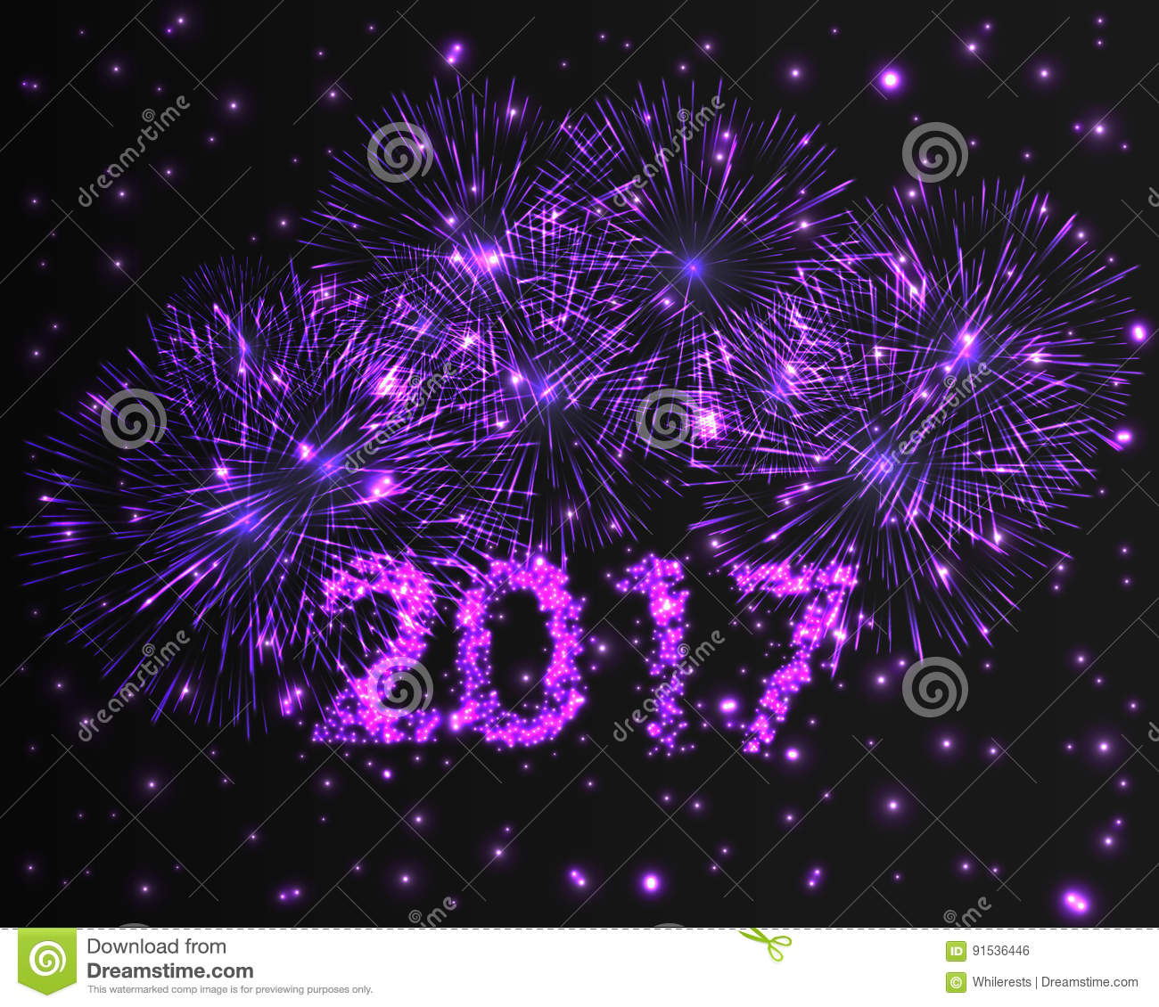 happy new year 2017 firework background greeting card with particle illustration