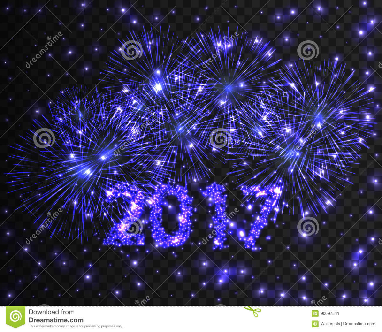 happy new year 2017 firework background greeting card with particle vector illustration