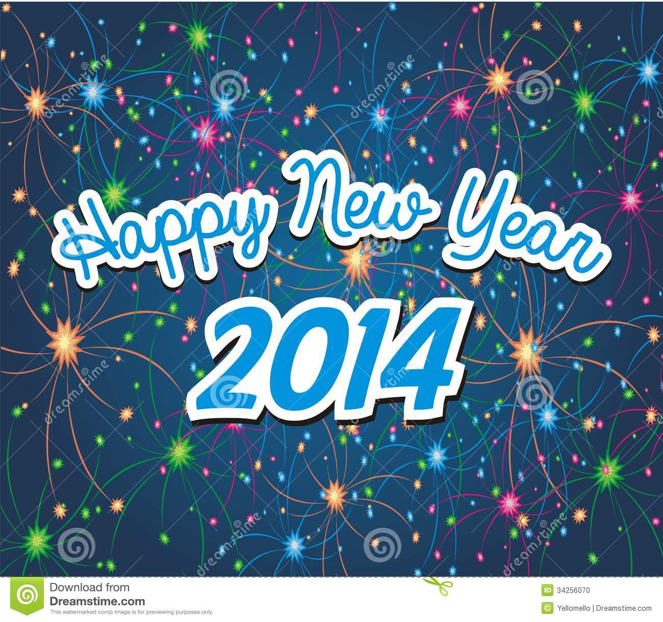 happy new year 2014 with firework background stock photo