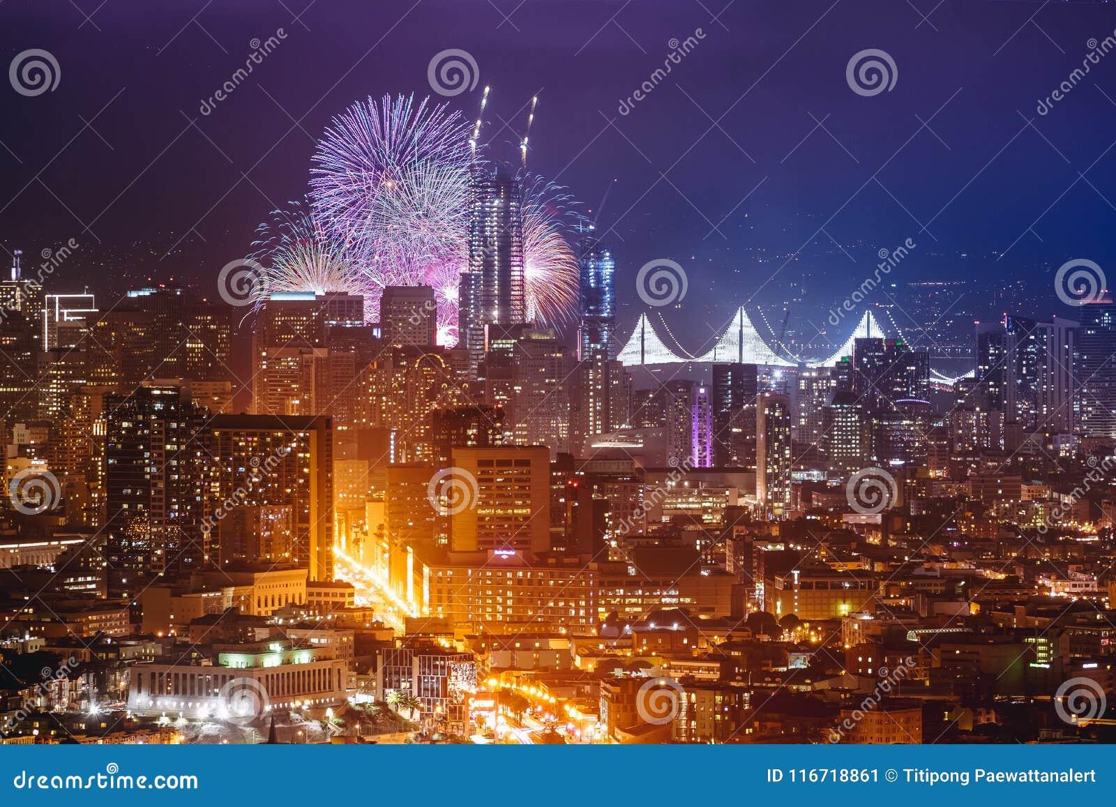 happy new year firework at san francisco ca usa 2017