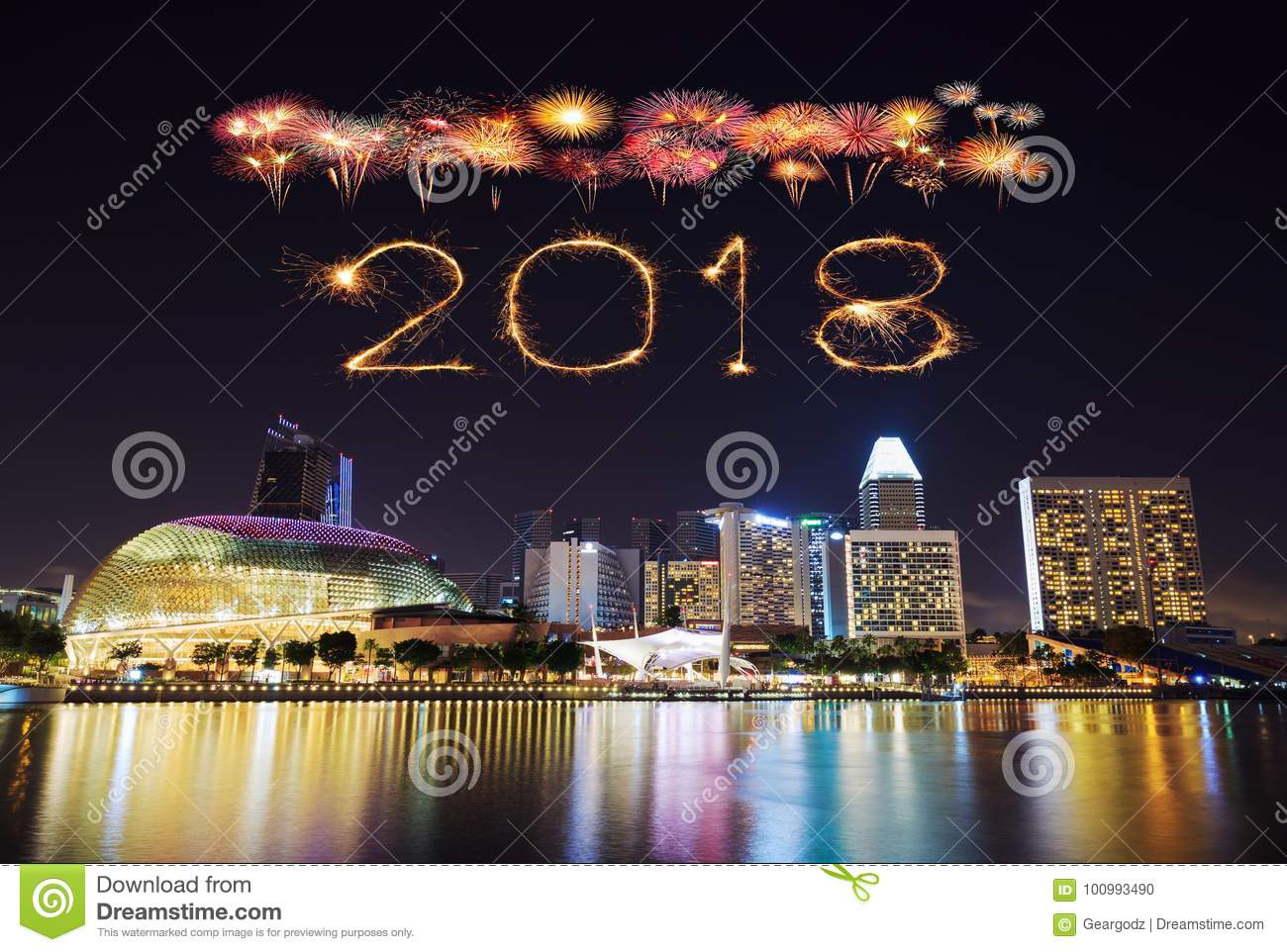 2018 happy new year firework sparkle with singapore cityscape at night
