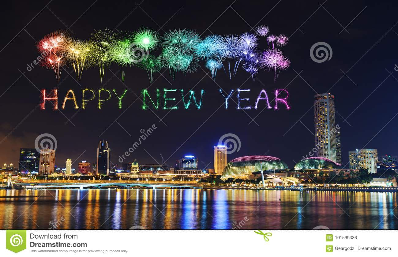 happy new year firework sparkle with cityscape of singapore at n
