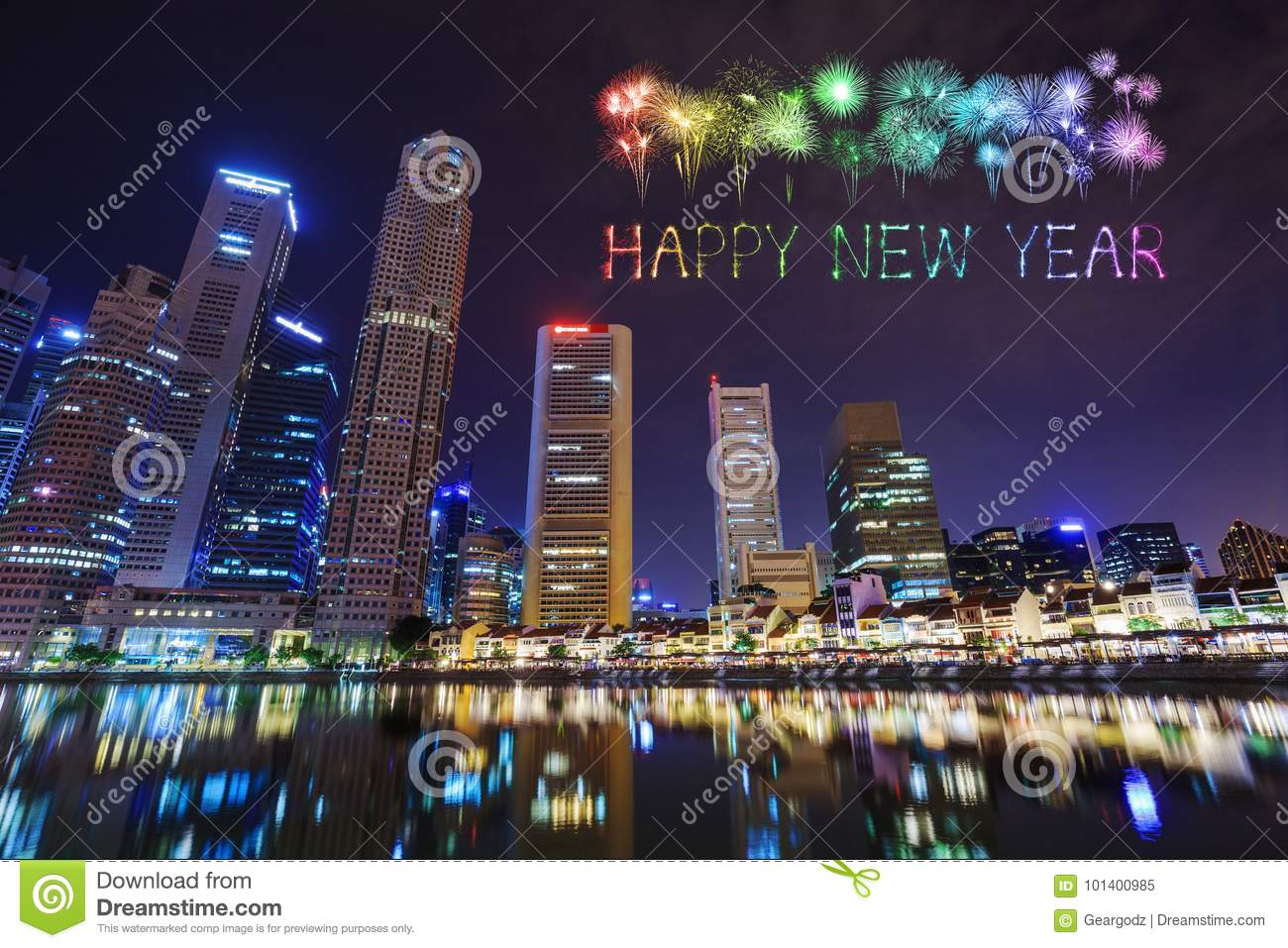 happy new year firework sparkle with cityscape view of singapore