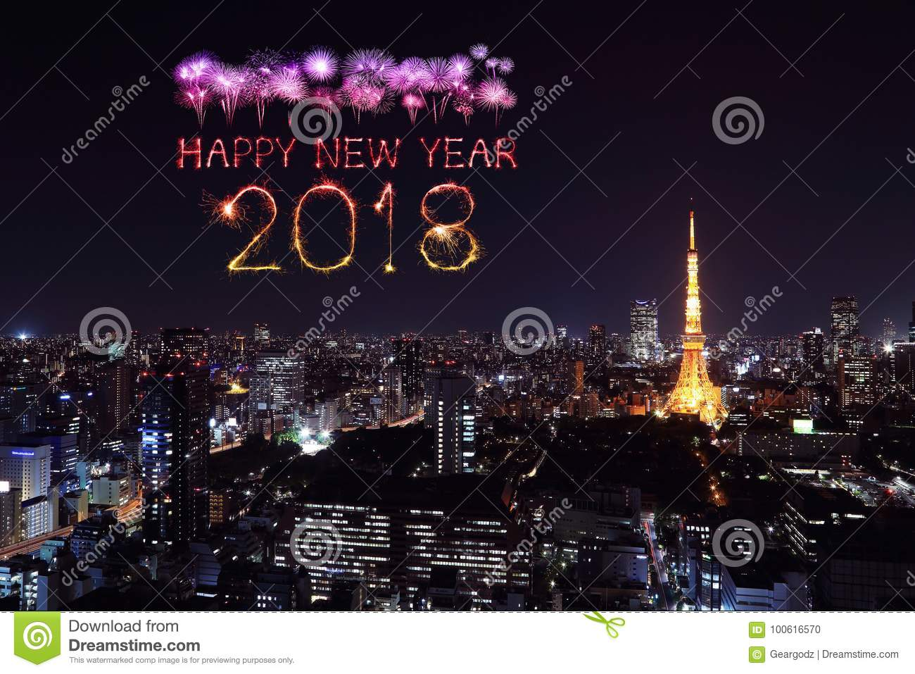 2018 happy new year firework sparkle with tokyo cityscape at night japan