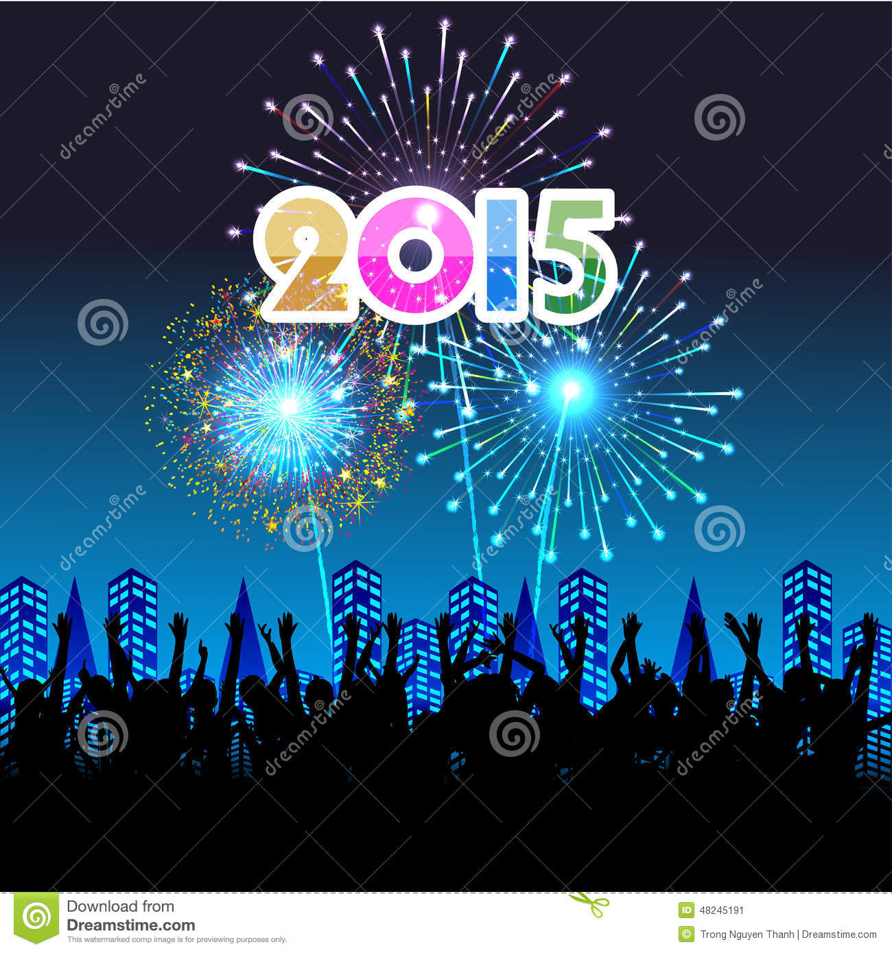 happy new year 2015 with fireworks background stock vector