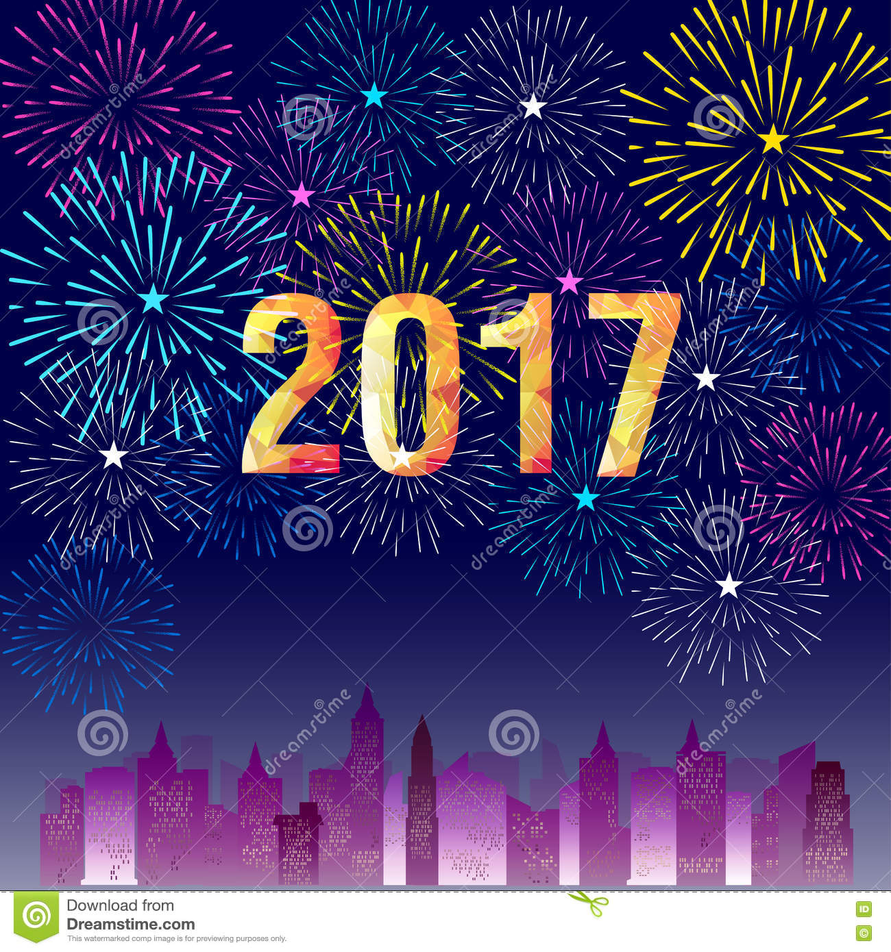2017 Happy New Year Background With Fireworks. Cartoon ...