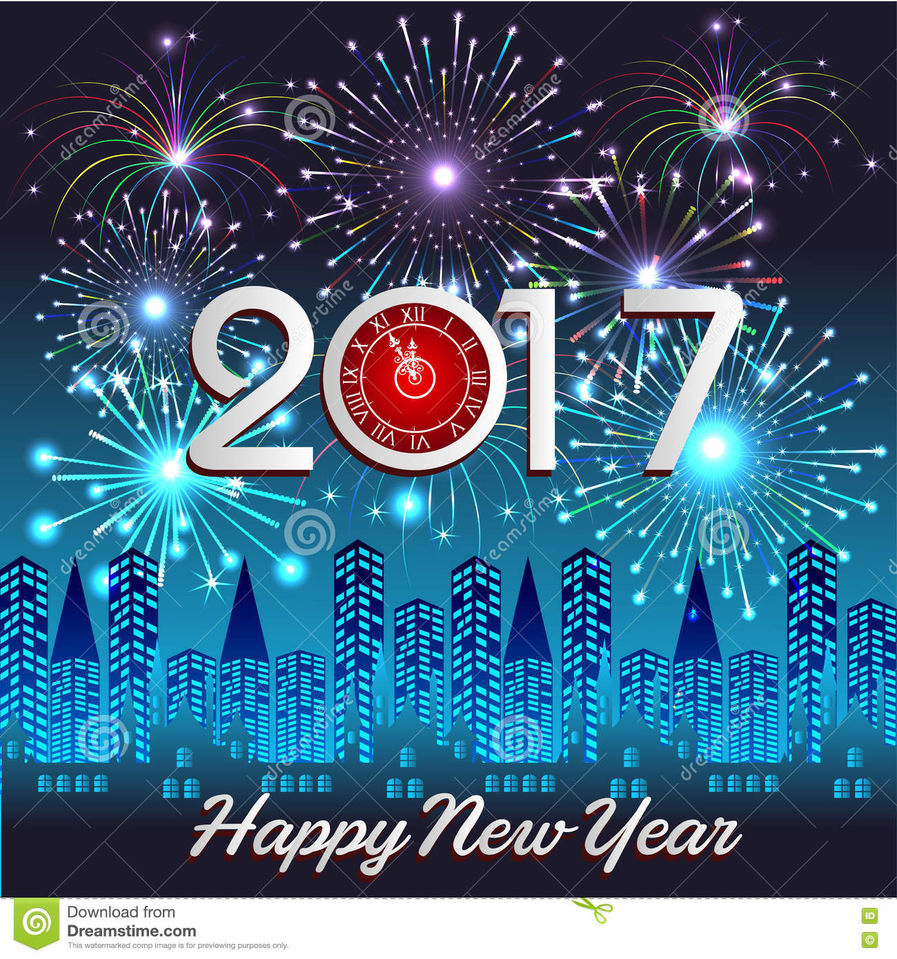 Happy New Year 2017 With Fireworks Background Stock Vector ...