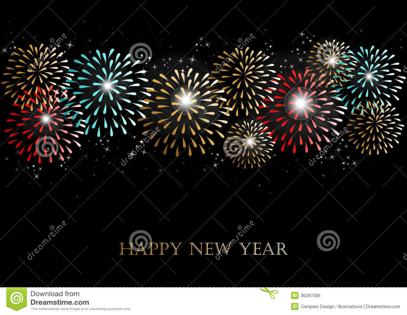Happy New Year 2014 Fireworks Background Stock Vector Illustration