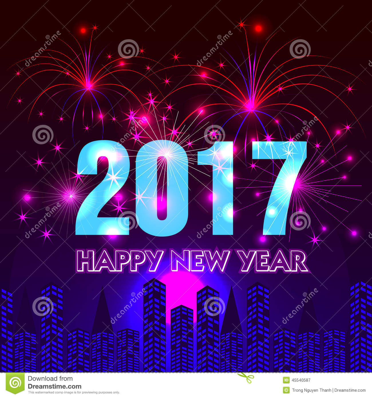 Happy New Year 2017 With Fireworks Background Stock Vector - Image ...