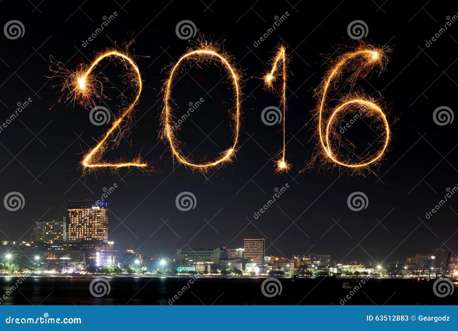 2016 happy new year fireworks celebrating over pattaya beach
