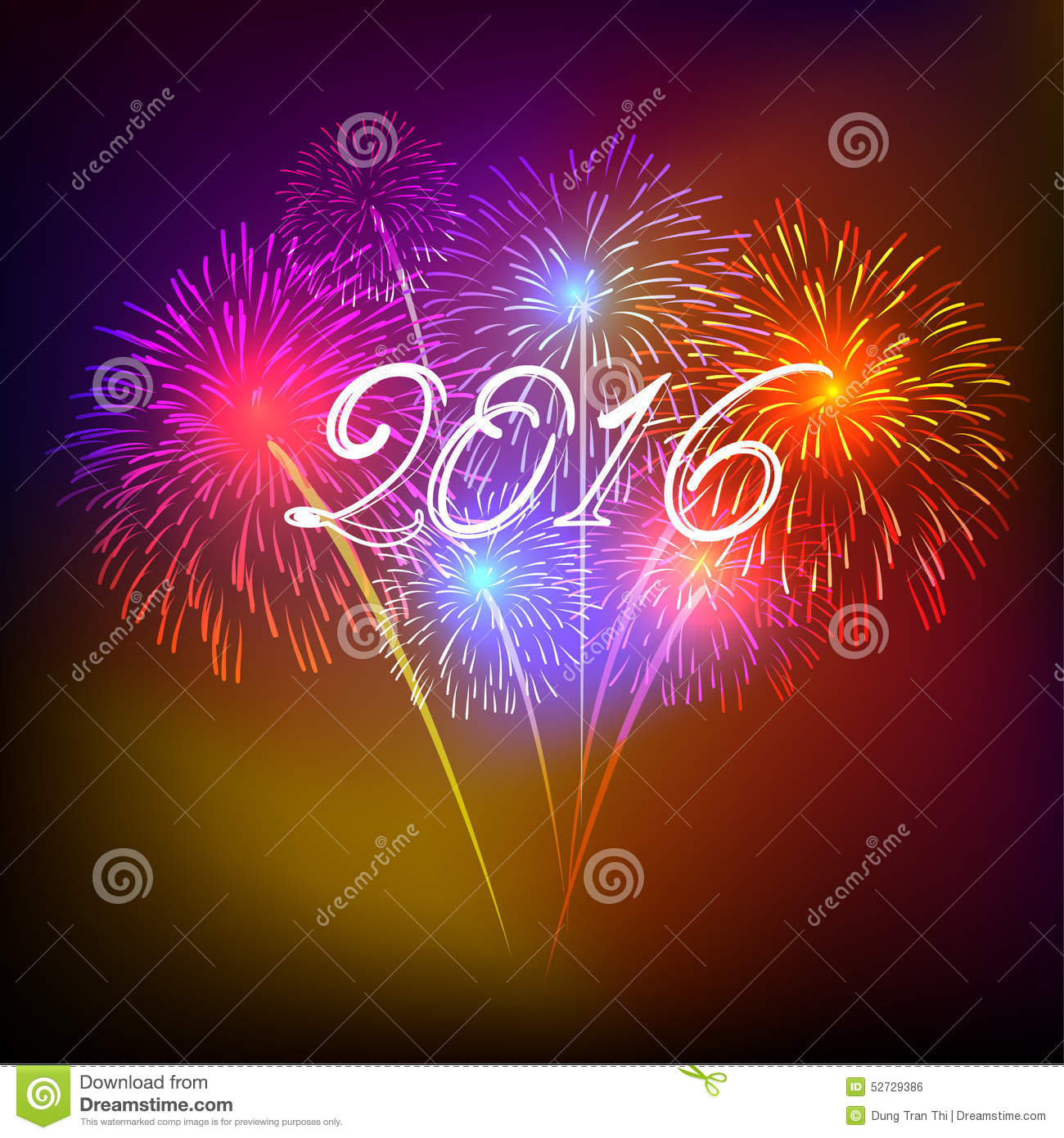 Happy New Year 2016 With Fireworks Holiday Background. Abstract, Banner.