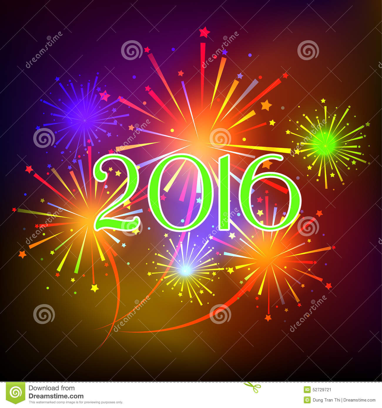 Happy New Year 2016 With Fireworks Holiday Background. Beautiful, 2017.