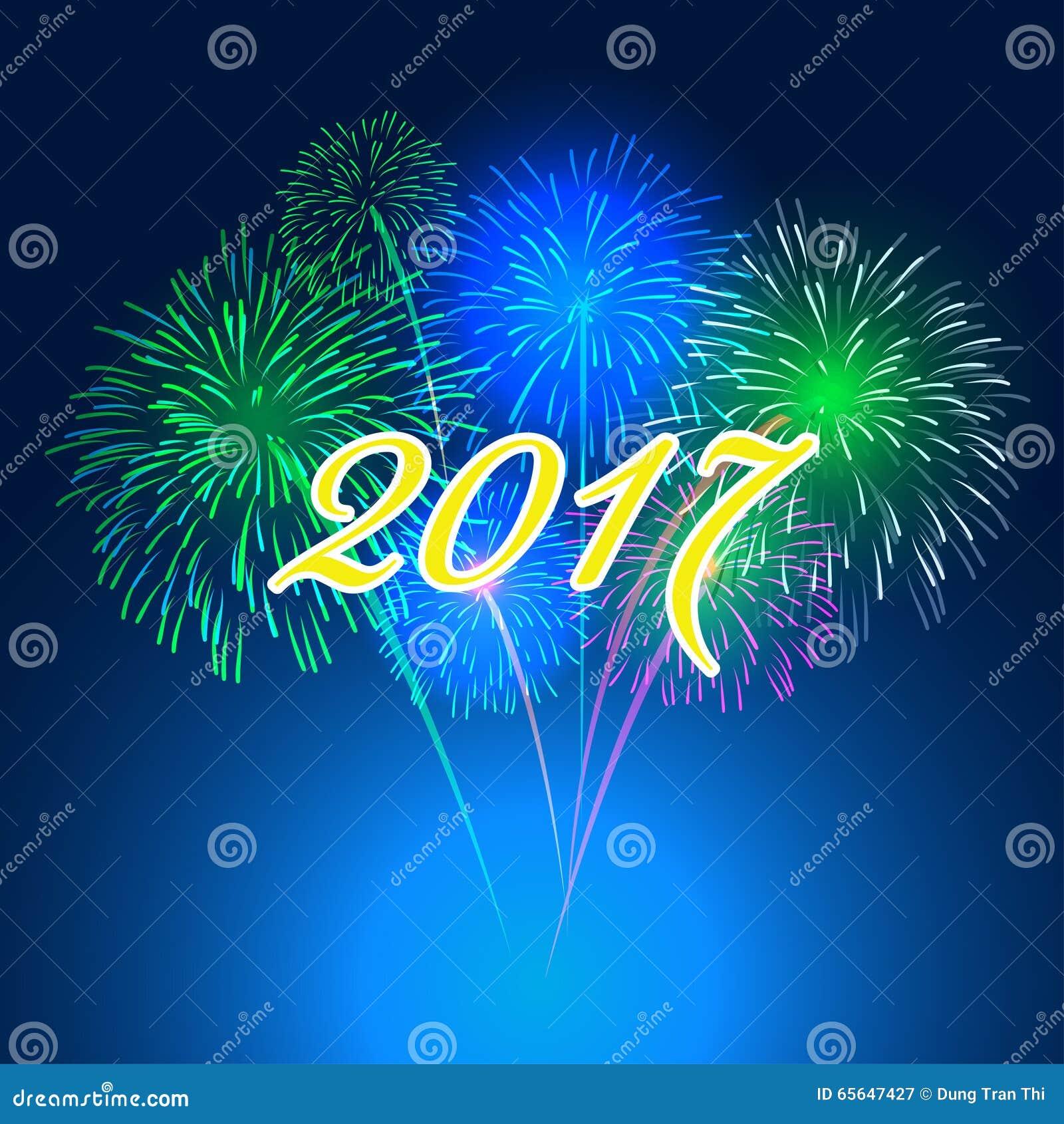 Background image 2017 - Happy New Year Fireworks 2017 Holiday Background Design Royalty Free Stock Photography