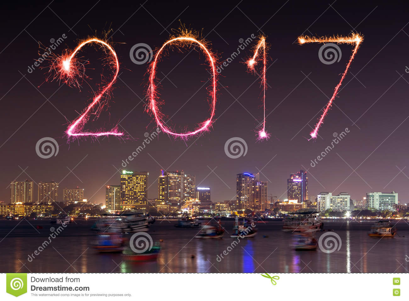 2017 happy new year fireworks celebrating over pattaya beach at night thailand