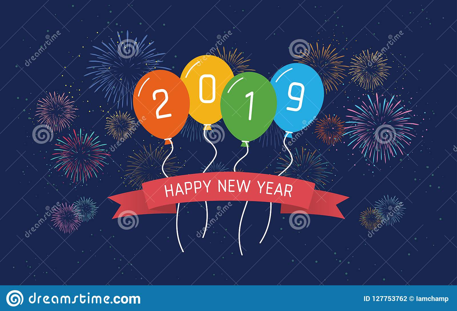 Happy new year 2019 in floating party balloon and ribbon - New year 2019 color ...