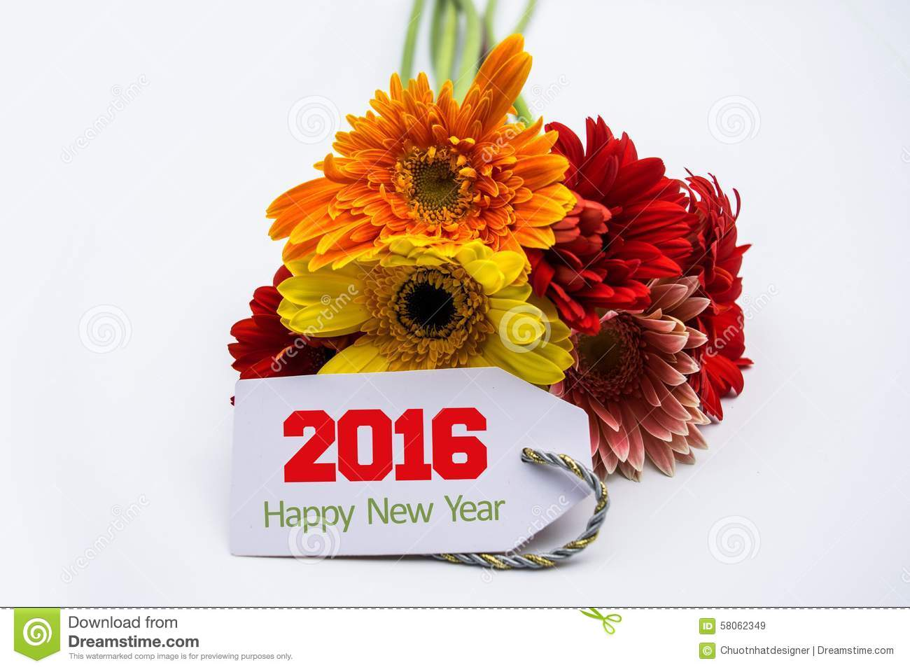 happy new year 2016 with flower and tag isolated on a white background