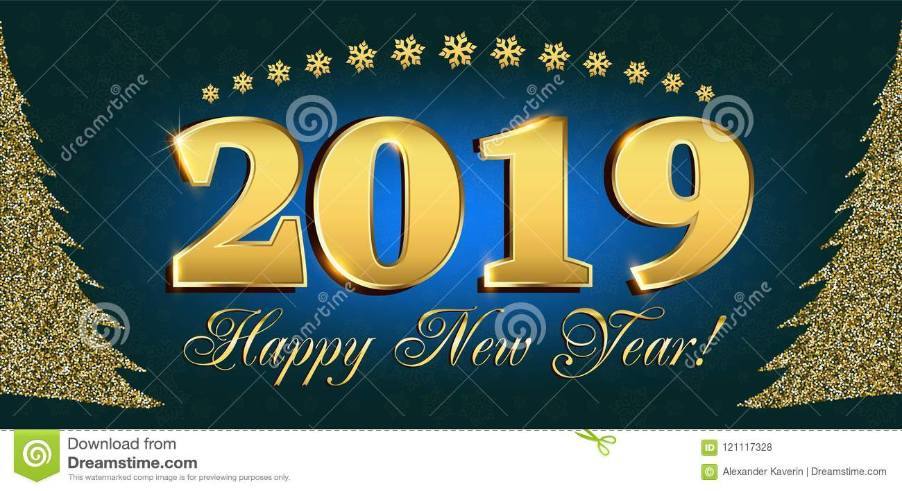 2019 Happy New Year Flyers And Greetings Card Or Christmas Themed