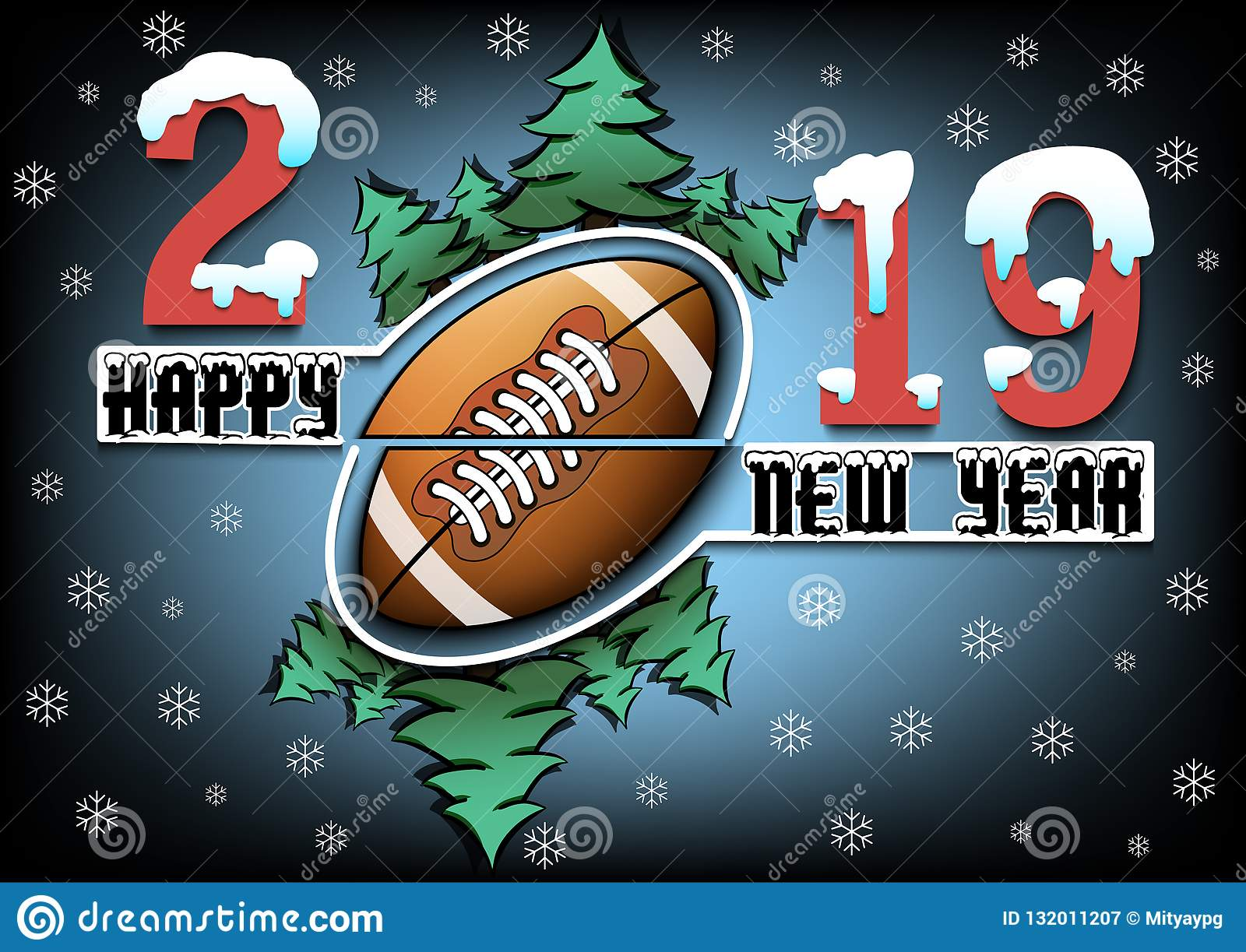 Happy New Year 2019 And Football Ball Stock Vector Illustration Of