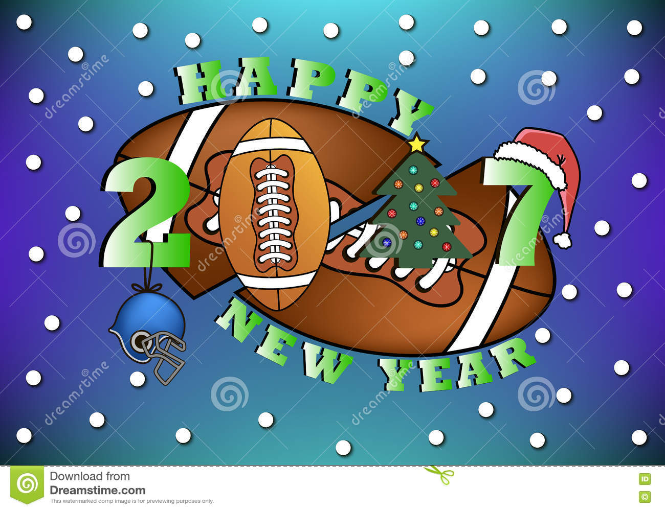 Happy New Year And Football Stock Vector Illustration Of Annual