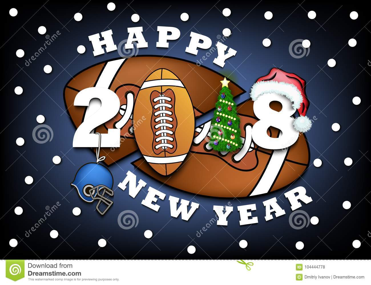 Happy New Year And Football Stock Vector Illustration Of
