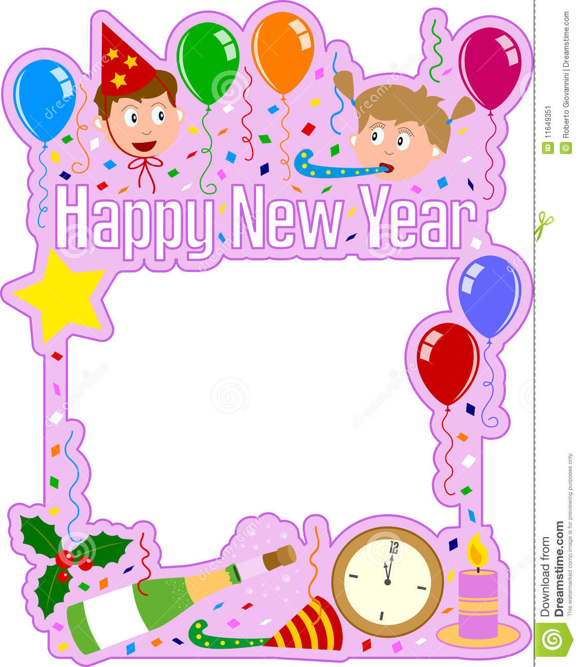 Download Happy New Year Frame [Girl] Stock Vector   Illustration Of  Greeting, Face