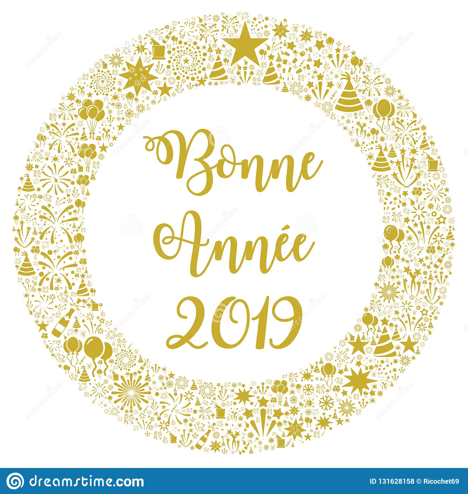 Happy New Year 2019 In French Stock Illustration ...