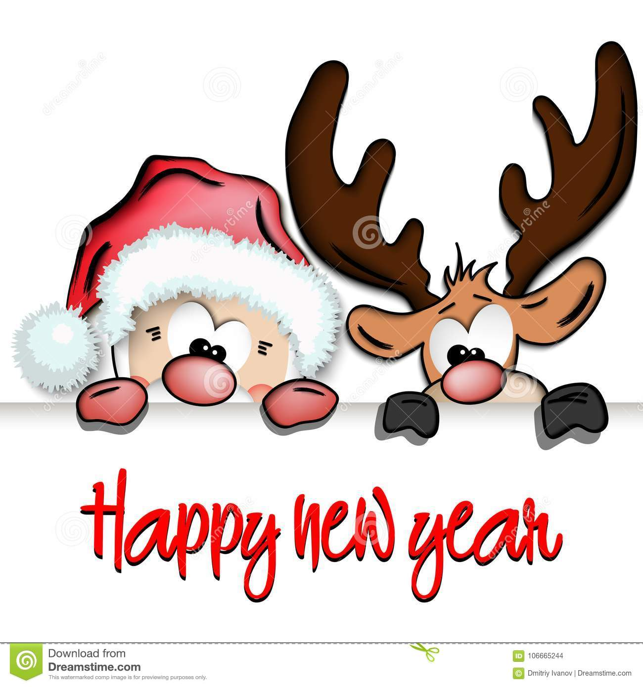 Happy New Year And Funny Santa Claus And Reindeer Stock Vector ...