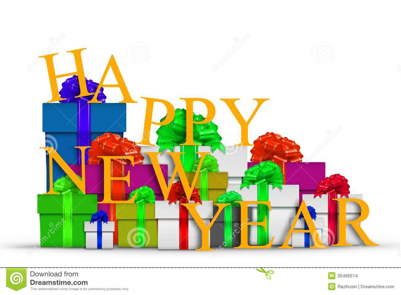 Happy New Year With Gift Boxes Stock Illustration - Image: 35466514