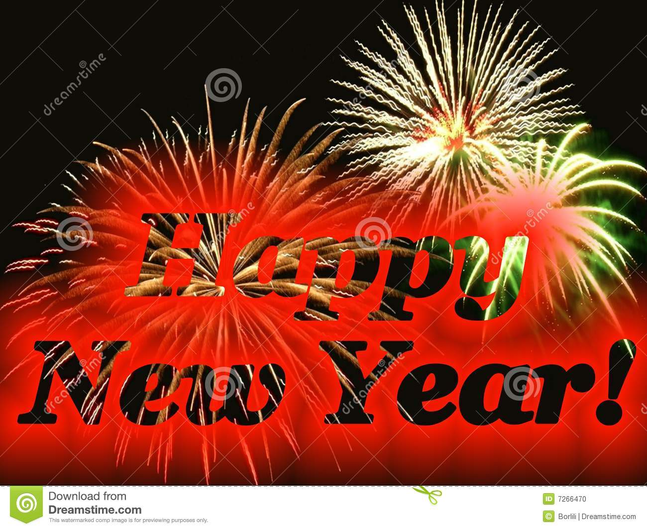 Happy New Year Gift Card With Fireworks Stock Photo ...