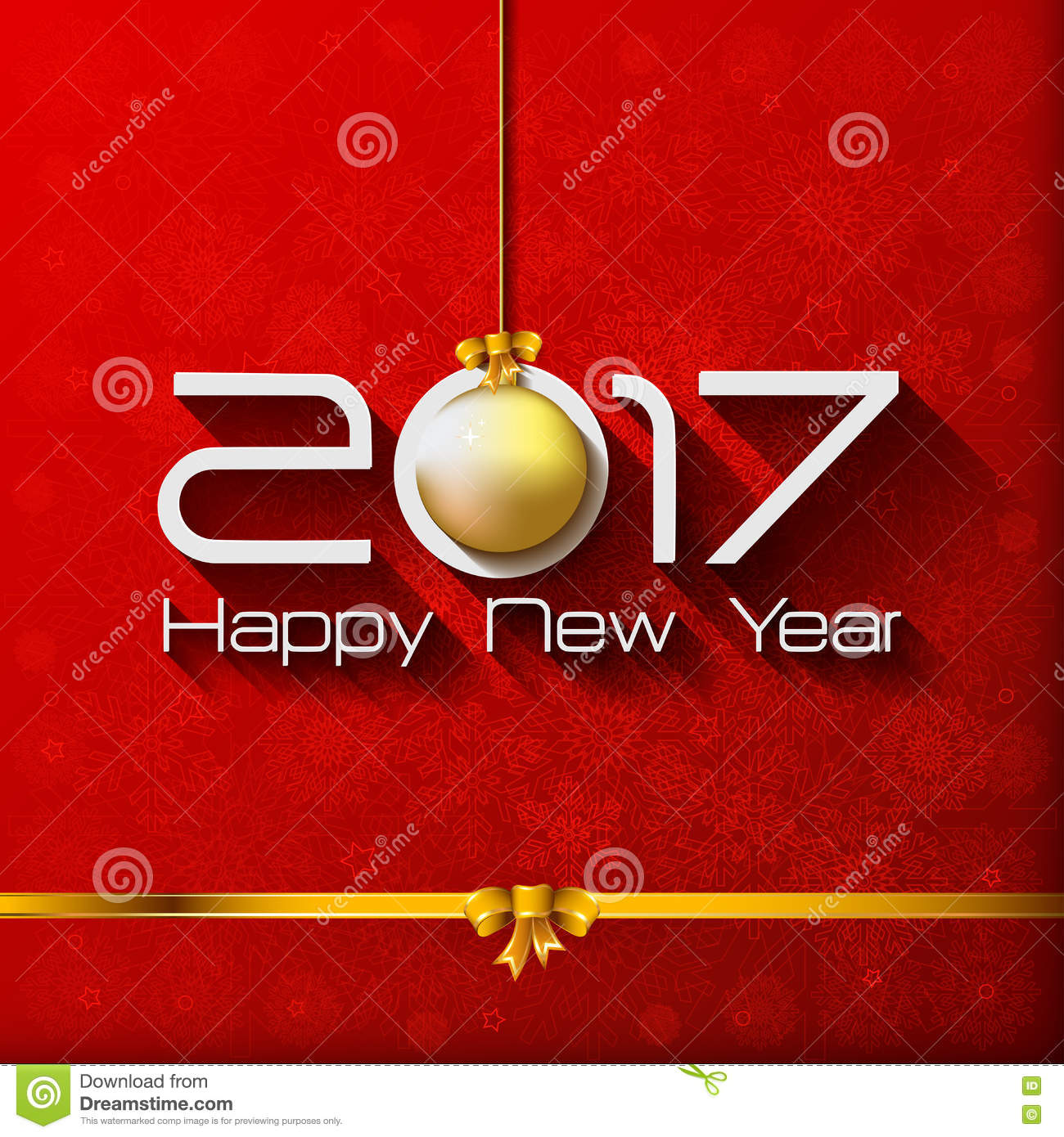 2017 Happy New Year Gift Greeting Card With Gold Stock Illustration
