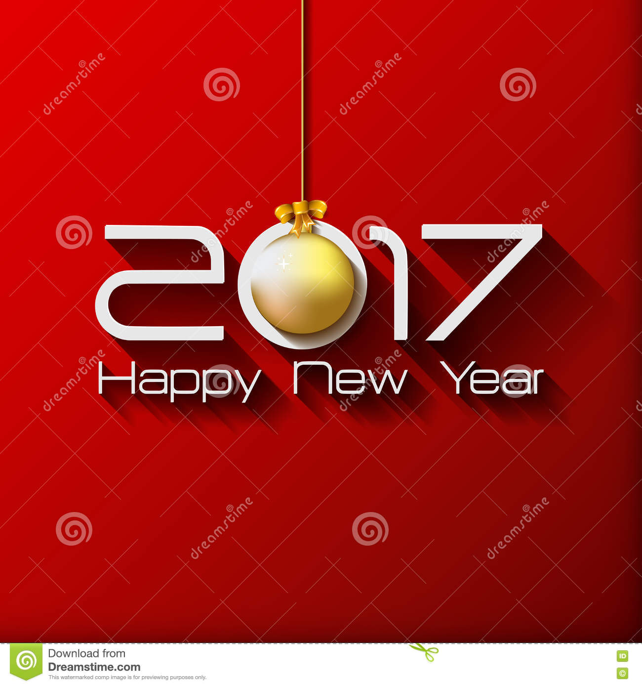 2017 happy new year gift greeting card with gold