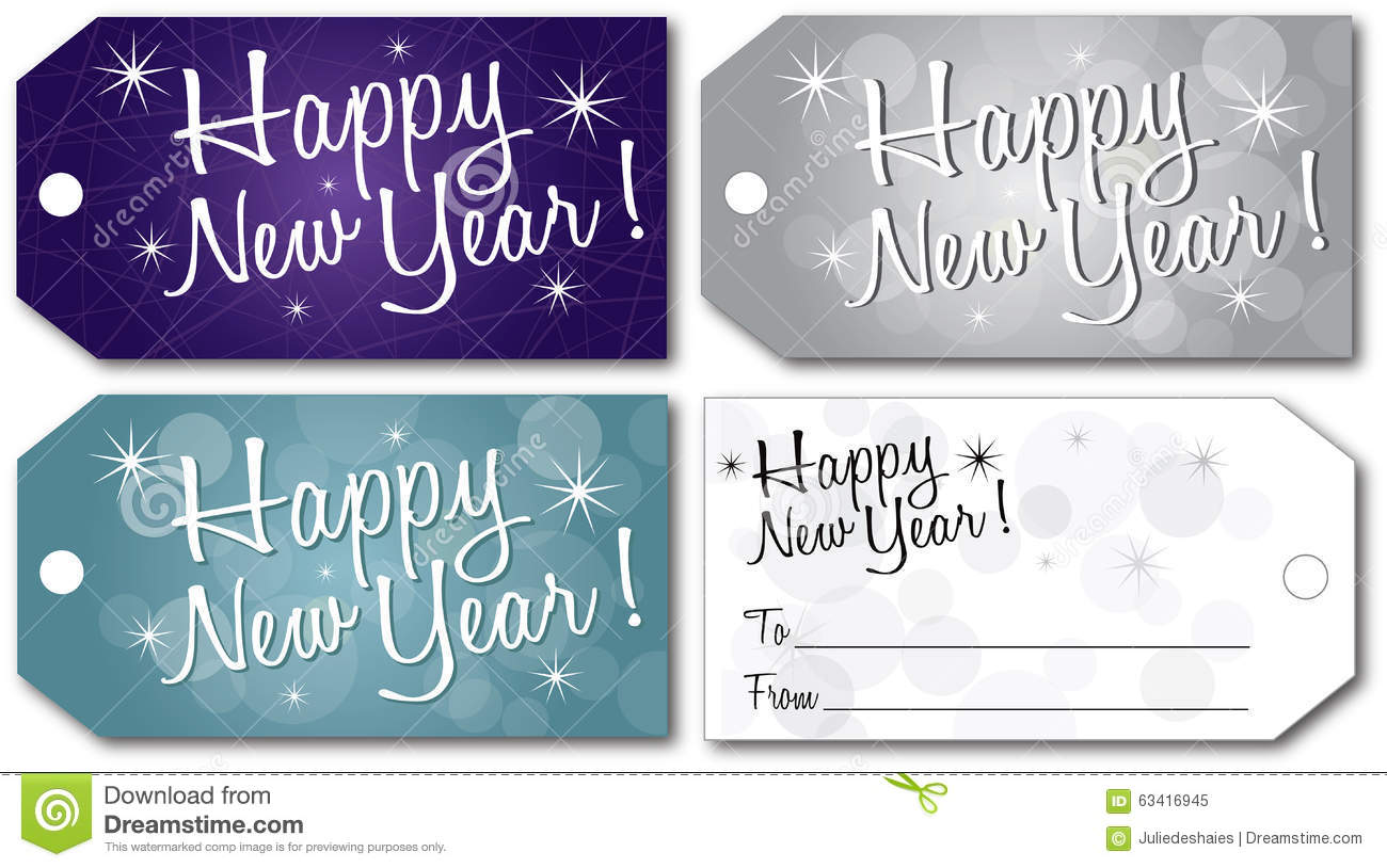 Happy New Year Gift Tag Vector Stock Vector - Image: 63416945