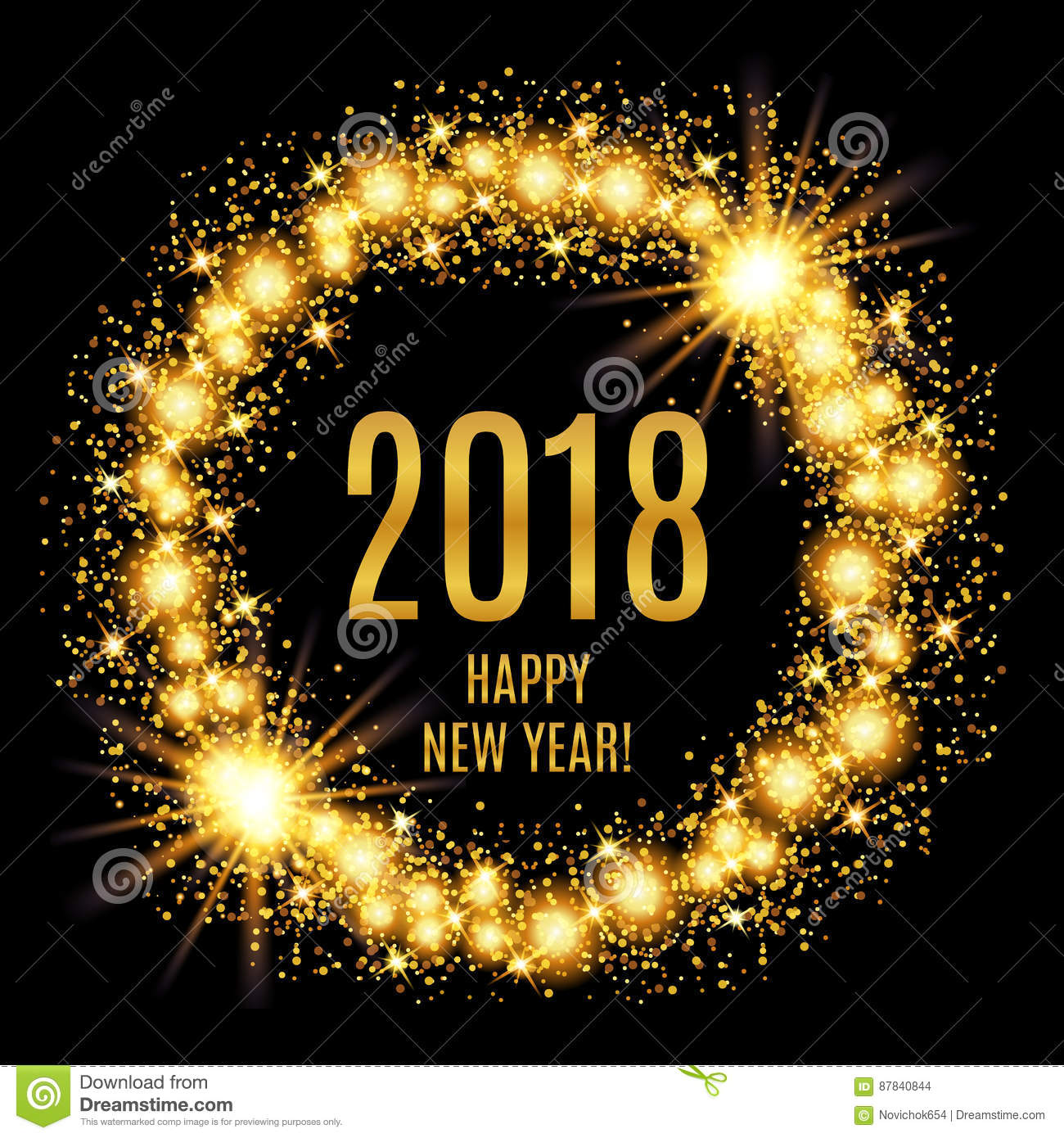 2018 Happy New Year glowing gold background.