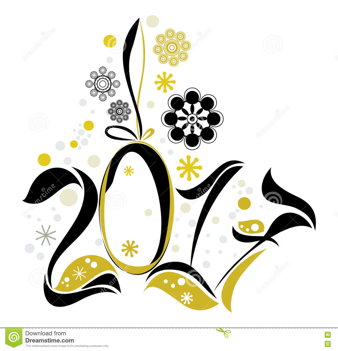 happy new year 2017 gold black numbers and snowflakes