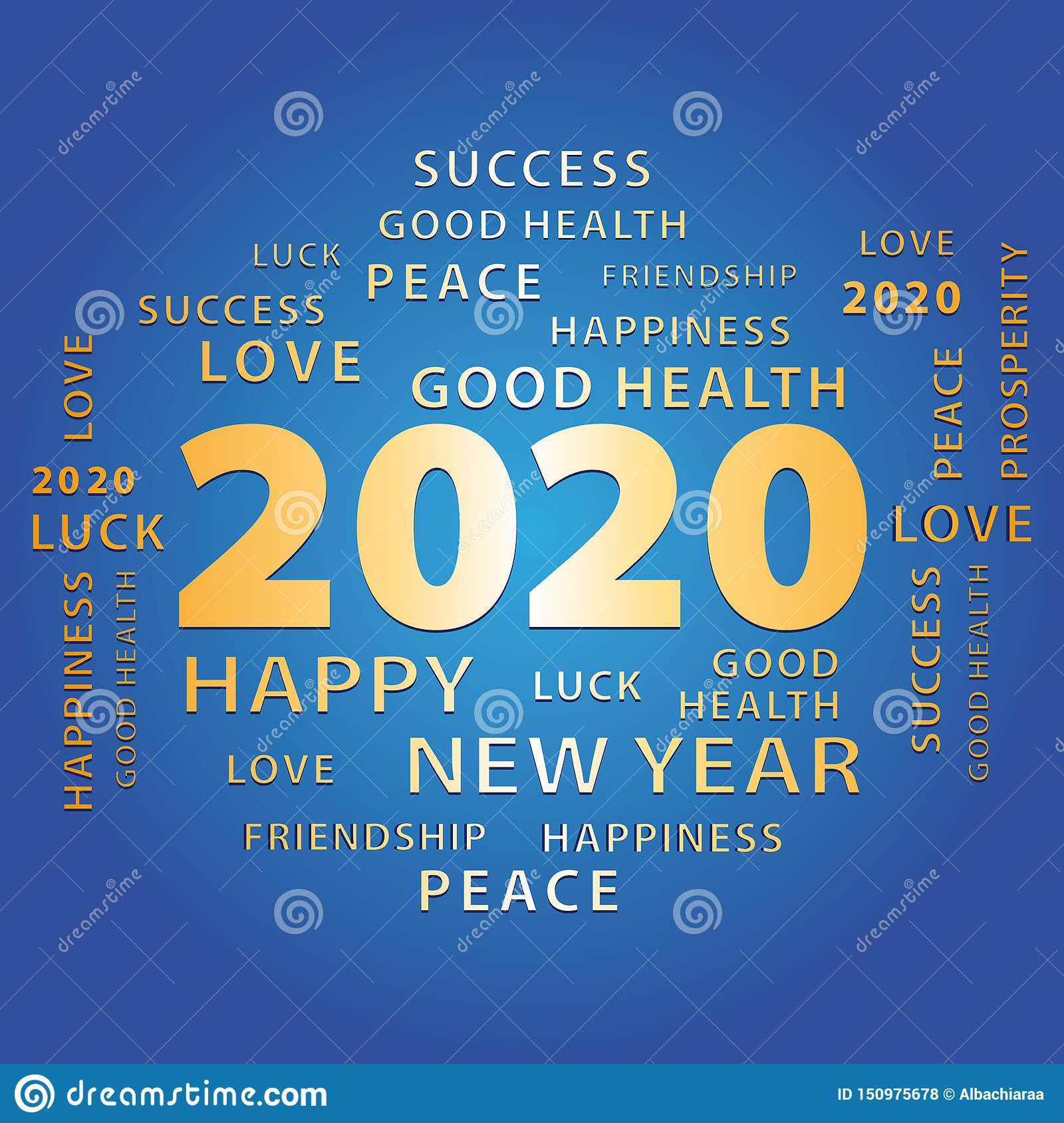 2020 Happy New Year Gold And Blue Greeting Card Stock