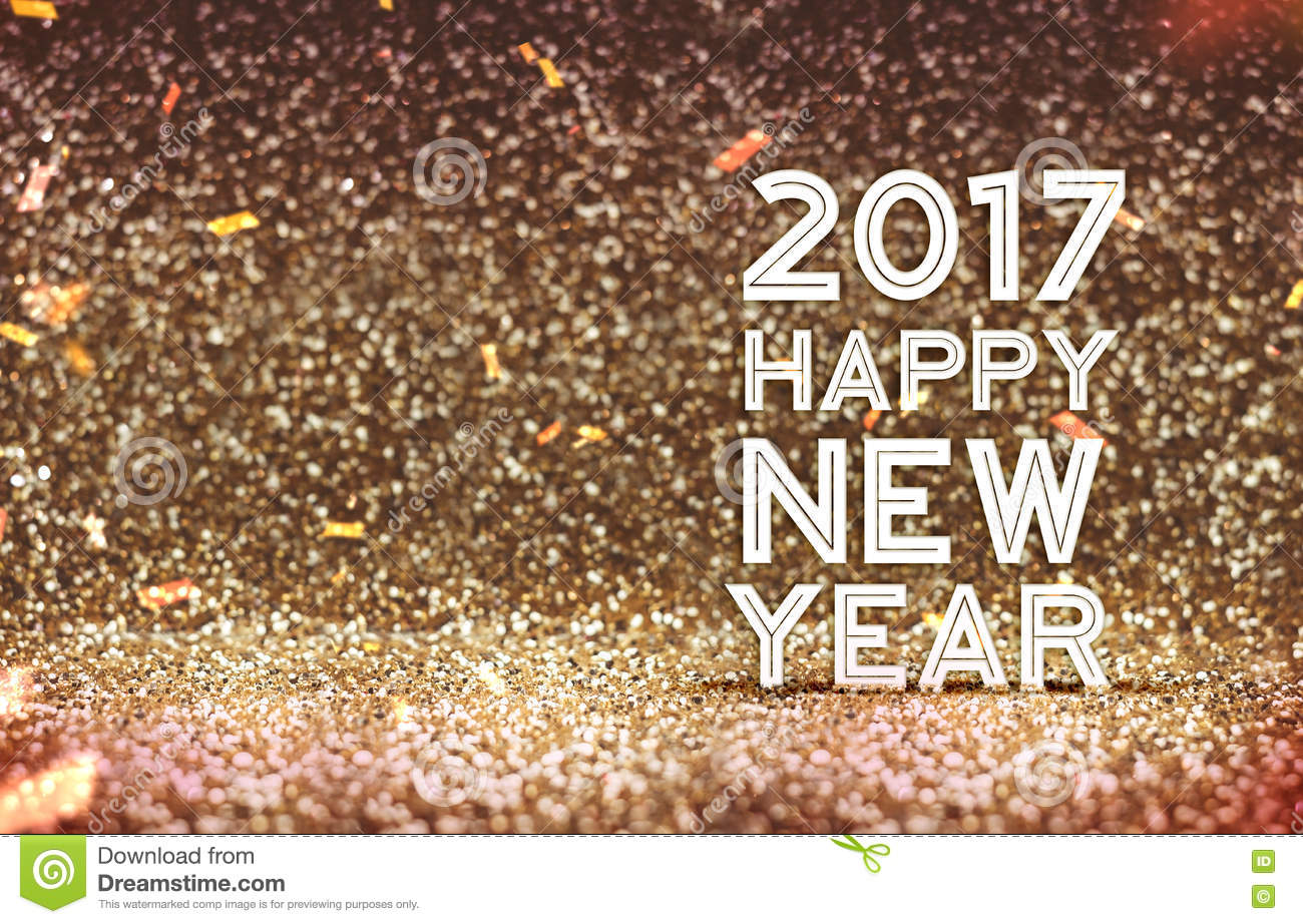 2017 happy new year in gold color abstract glitter background h