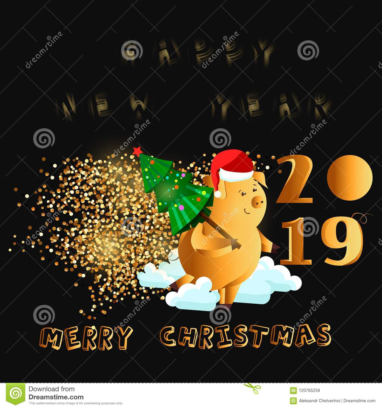 Happy New Year Gold Cute Funny Pig Chinese Symbol Of The 2019 Year