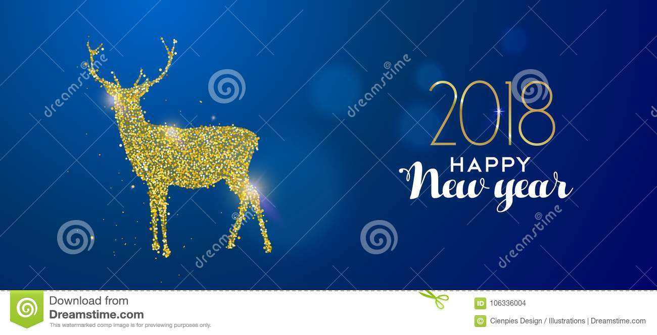 happy new year 2018 gold glitter deer holiday card